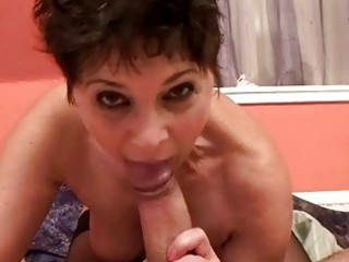 sexy granny engulfing and fucking cock from pov